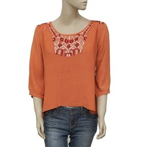Urban Outfitters Ecote Embroidered Rust Top M